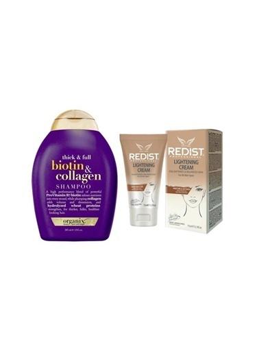 Organix Biotin Collagen şampuan 385 ml+Lightening Cilt Beyazlatıcı Krem 75 ml Renksiz